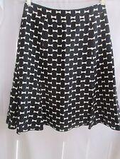 Kate Spade Bow Tie Flirt Skirt The Rules  Black White Silk Blend Size 4 NWT $298
