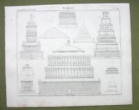 ROMAN TOMBS Cestius Pyramid Hadrian's Scipio's Metellus - 1825 Antique Print