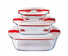 Microwavable Glass Food Storage Container, Clear with Lid. Heat Resistant