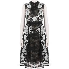 Erdem Luxurious Black White Intricate Embroidered Lace Kali Tea Dress UK10 IT42