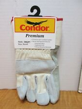 5ngp7 Size S Grey Leather Double Palm Pearl Gloves With Safety Cuff Qty 9 Pairs