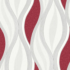 Red Glitter Waves Wallpaper Silver White Quality Textured Vinyl Feature Wall