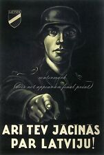 Vintage German Latvia WW2 Canvas or Poster Print YOU MUST FIGHT FOR LATVIA!