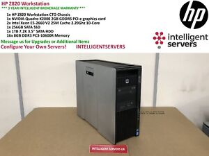 HP Z820 Workstation 2x E5-2660 V2 2.20GHz 128GB  1TB HDD  256GB SSD Quadro K2000