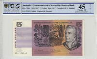1967 Australia $5 Banknote Coombs/Randall PCGS Choice EF 45 Details