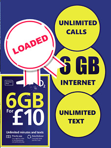o2 sim card £10 POUNDS LOADED O2 SIM WITH £10 CREDIT LOADED 6GB UNLIMITED CALLS