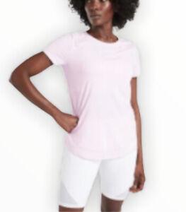ATHLETA Women's Cadence Tee Gym Workout sweat running everyday Pale Pink Sz XL