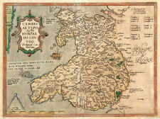 Historic Ancient Map of Wales A3 PRINTED on SPECIAL CANVAS free Next Day Deliver