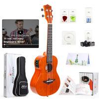 Aklot Solid Mahogany Electric Tenor Ukulele Soprano Concert Uke Hawaii Guitar