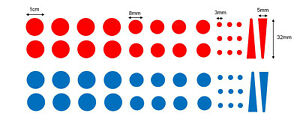A Set of 27 Red and 27 Blue Tap/Faucet and Shower Vinyl Temperature Stickers