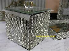 Bella Lux Full Rhinestone Crystal Glass Mirrored Cotton Q-Tip Jar Bath Bathroom