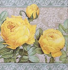 2 single paper napkins Decoupage Craft Collection Serviette Yellow Roses Flowers