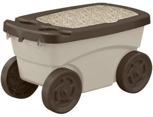 Garden Scooter 12.25 in. x 13 in. Resin Portable White with Built-In Cup Holders