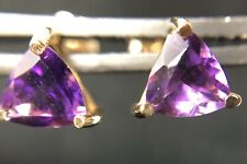 Amethyst Trillion Stud Earrings 7mm x 7mm 14k Yellow Gold NWOT/ NOS