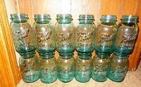OLD VINTAGE 1923-33 BALL BLUE GLASS QUART CANNING JARS 0 1 2 3 4 5 6 7 8 9 10 12
