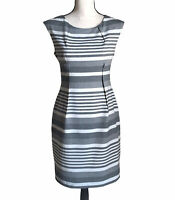 Calvin Klein Size 6P Gray White Stripe Sheath Dress Career Cocktail Empire Waist