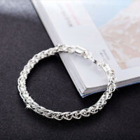 Fashion Women Girl 925 Sterling Silver Plated Cuff Bracelet Charm Bangle Jewelry