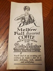 VINTAGE DRIP-O-LATOR COFFEE PERCOLATOR POT Original Instruction Pamphlet Insert