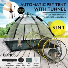 Auto Pop-up Pup Tent Pet Dog Cat Outdoor Portable Play Fun House With Tunnel