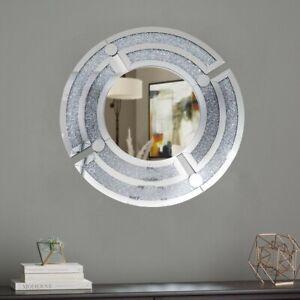 Crushed Diamond Crystal Round Wall Mirror - WM-VZ105153