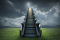 Escalator to Heaven Cloudy Sky Rural Landscape Photo Art Print Poster 18x12 inch
