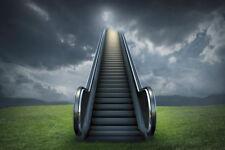 Escalator to Heaven Cloudy Sky Rural Landscape Photo Art Print Poster 18x12 inch