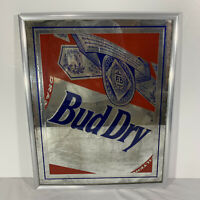 "Vintage 1992 Bud Dry Budweiser Beer Framed Advertising Glass Mirror Sign 21x17"""