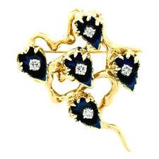 Vintage 18k Gold Dark Blue Enamel & 0.53ct Diamond Cup Flower Brooch Pin Pendant