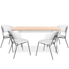 Mesa rectangular blanca salon comedor y pack de 4 sillas beige 140x80x77cm