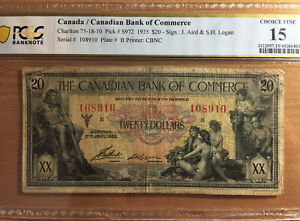 1935 $20 Canada / Canadian Bank of Commerce Charlton 75-18 -10 PCGS BN Ch F15