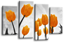Floral Flower Canvas Wall Art Picture Print Large Multi Panel Tulip Orange Grey