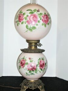 Antique Hand Painted Pink Roses Double Globe Hurricane Lamp ~ Gone W/The Wind