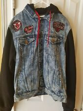 Vintage Chicago Bulls Blue jean Jacket with Hoodie World Champs Patch  Youth XL
