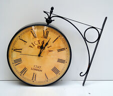 Antique victorian wall clock outdoor station double sided wall mount clock decor