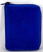 Geldbörse Portemonnaie Echt Leder Herren Damen Blau umlaufender Reißverschluss