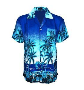 Mens Hawaiian Shirt Stag Do Night Party Fancy Dress Holiday Palm Printed Summer
