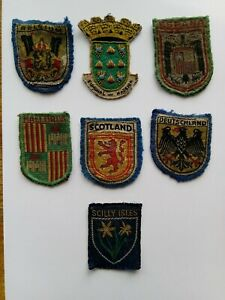 Old cloth badges for different countries