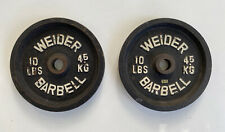 Weider Set Of Two 10 Lbs Barbell Weights 4.5 Kg Rare
