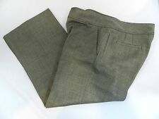 Calvin Klein Womens Sz 14 Gray Black Wide Leg Wool Blend Dress Pants Zipper Fly