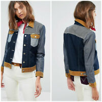 NEW WRANGLER by PETER MAX WESTERN  DENIM MIX JACKET RETRO CORDS  XS/S/M/L