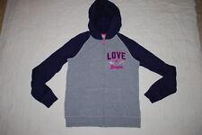 Girls Gray Navy Blue Fleece Sweat Jacket Hooded Love Forever Zip Front L 10-12