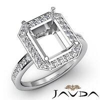 Diamond Engagement Filigree Ring Emerald Semi Mount 14k W Gold Halo Pave 0.5Ct