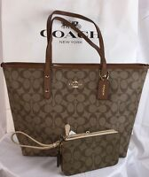 COACH LARGE SIGNATURE CITY ZIP TOTE AND DOUBLE ZIP WALLET/WRISTLET NEW