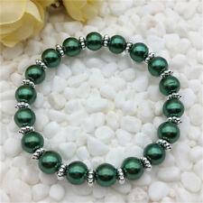 DIY Fashion Jewelry 8mm Pearl Stretch Bracelet Handmade Dark green Beads NEW