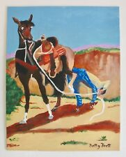 Original Art Country Western Horse Cowboy Signed By Artist Oil Canvas Boots Hat