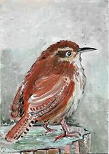 ACEO Original Painting Art Card Acrylic Bird Carolina Wren 100% Hand Painted