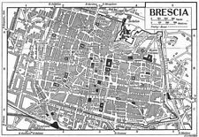 BRESCIA town/city plan. Italy 1953 old vintage map chart