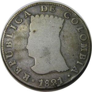 elf Colombia Cundinamarca Province 8 Reales 1821 BaJF  Silver