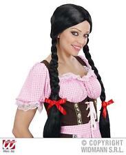 Señoras de largo Negro peluca Con Trenzas Hansel Y Gretel De Disfraces De Halloween