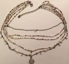 Silpada Jasper Pearl Coral Sterling Silver Necklace Multi Strand Tiered N1673